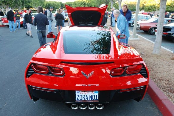 DSC_00722014 Torch red Corvette Sting Ray_ rear view with reflections and raised front hood_cars&coffee/irvine_November 2, 2013