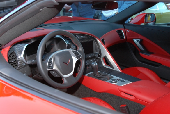 2014 Torch red Corvette Sting Ray_ two tone interior view_cars&coffee/irvine_November 2, 2013