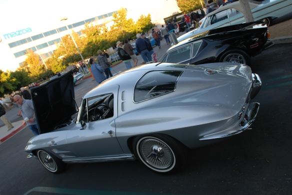 1963 Sebring silver Corvette Sting Ray split window coupe_ 3/4 rear view_cars&coffee/irvine_November 2, 2013