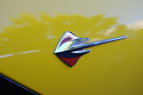 2014 Velocity Yellow Corvette Sting Ray_ front fender sting ray badge_cars&coffee/irvine_November 2, 2013
