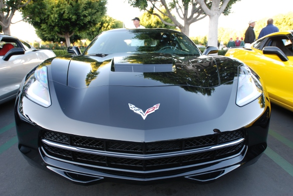 2014 Black on black Corvette Sting Ray_ front view with reflections_cars&coffee/irvine_November 2, 2013