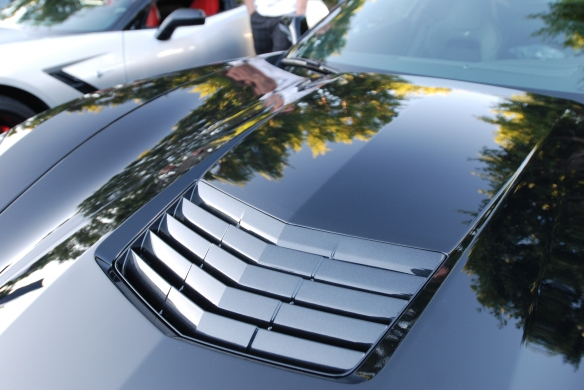 2014 Black on black Corvette Sting Ray_ front hood vents and reflections_cars&coffee/irvine_November 2, 2013