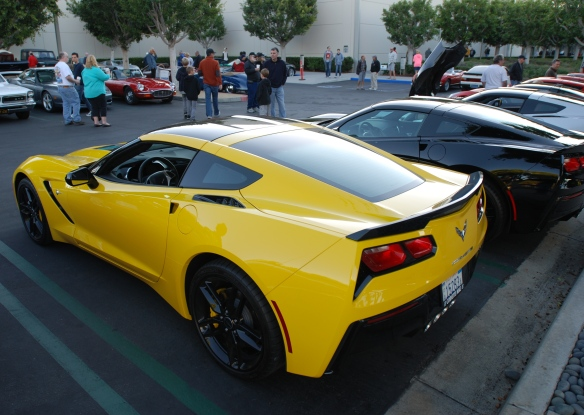 2014 Velocity Yellow Corvette Sting Ray_ 3/4 rear view_cars&coffee/irvine_November 2, 2013