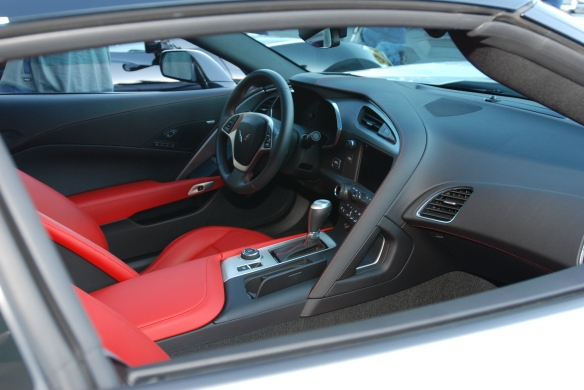 2014 Blade Silver Corvette Sting Ray_Interior view w/ red seats_cars&coffee/irvine_November 2, 2013