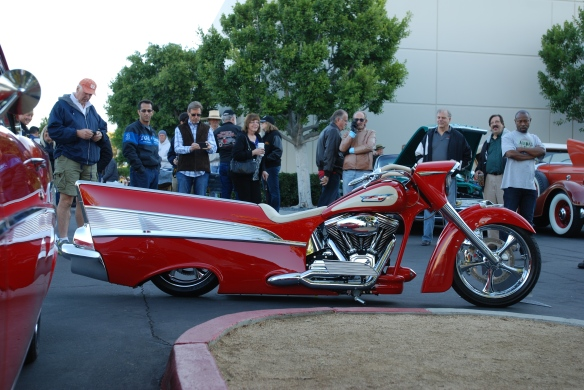 Red & cream,1957 Chevrolet Bel Air inspired Harley Davidson motorcycle__side view_cars&coffee/irvine_November 2, 2013