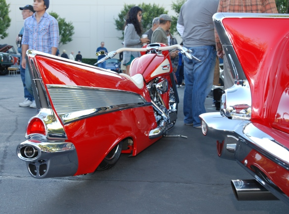 Red & cream,1957 Chevrolet Bel Air inspired Harley Davidson motorcycle__rear view, motorcycle and car_cars&coffee/irvine_November 2, 2013