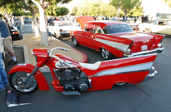 Red Tri-5 Chevrolet Bel Air and 1957 Bel Air inspired Harley Davidson motorcycle__side & rear views_cars&coffee/irvine_November 2, 2013