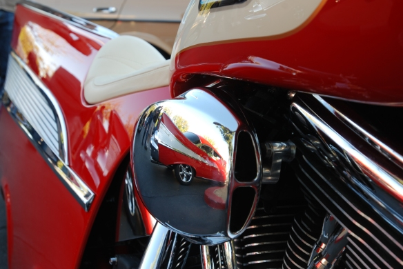 Red & cream,1957 Chevrolet Bel Air inspired Harley Davidson motorcycle__close up motor reflections_cars&coffee/irvine_November 2, 2013