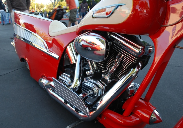 Red & cream,1957 Chevrolet Bel Air inspired Harley Davidson motorcycle__side view and motor reflections_cars&coffee/irvine_November 2, 2013