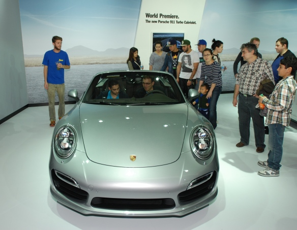World premier, Silver 2014 Porsche Type 991, 911 Turbo Cabriolet_ front view_LA Auto show_November 23, 2013
