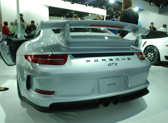 2014 Silver Porsche GT3_ rear view_LA Auto show_November 23, 2013