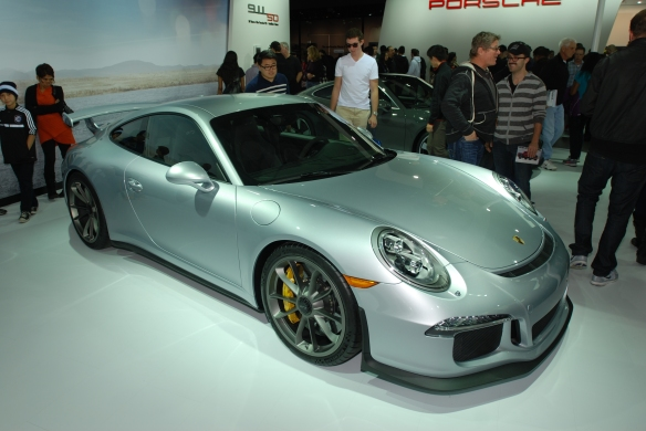 2014 Silver Porsche GT3_ 3/4 front view_LA Auto show_November 23, 2013