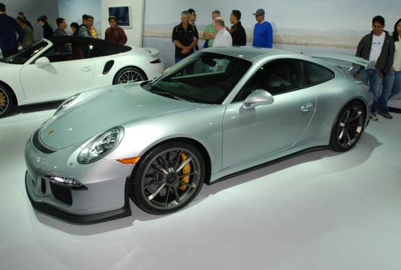 2014 Silver Porsche GT3_ 3/4 front view with 2014 991 Turbo S cabriolet in background_LA Auto show_November 23, 2013