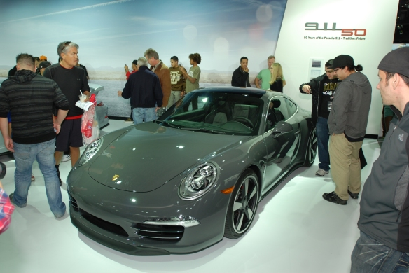 2014, 50th Anniversary Edition Porsche 991_ 3/4 front view_LA Auto show_November 23, 2013