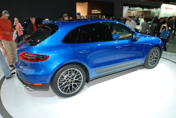 Blue 2014 Porsche Macan_3/4 rear view_LA Auto Show_ November 23, 2013