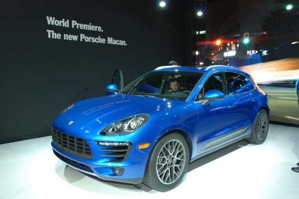 Blue 2014 Porsche Macan_3/4 front view_LA Auto Show_ November 23, 2013