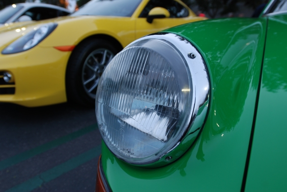 Viper Green 1973 Porsche 911S_Bosch H1 headlight detail_cars&coffee_ December 28, 2013