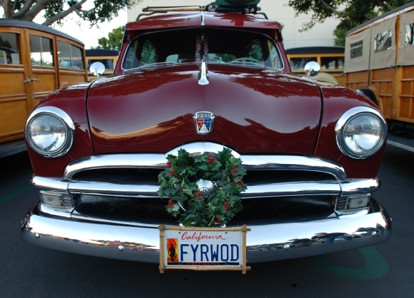Burgundy Ford Woody wagon_Front view_Cars&Coffee /Irvine_ Christmas December 2013