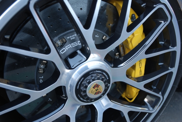2014 White Porsche 911 Turbo S_centerlock wheel with PCCB brake system_cars&coffee_December 21, 2013