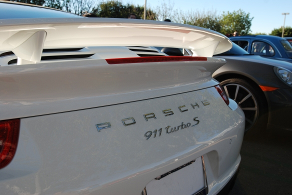 2014 White Porsche 911 Turbo S_rear wing & badging detail_cars&coffee_December 21, 2013