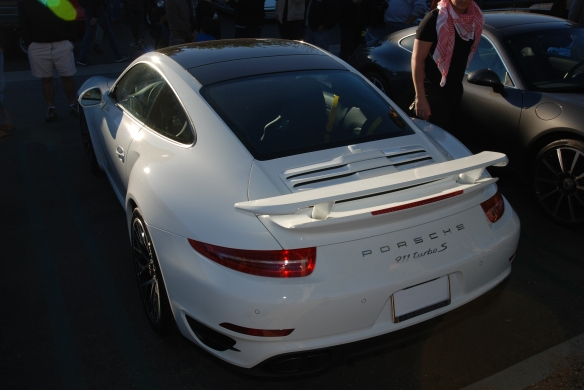 2014 White Porsche 911 Turbo S_3/4 rear view_cars&coffee_December 21, 2013