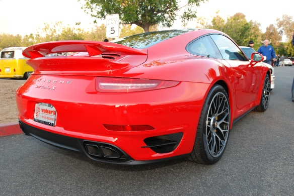 2014 Guards Red Porsche 911 Turbo S_3/4 rear view _cars&coffee_December 21, 2013