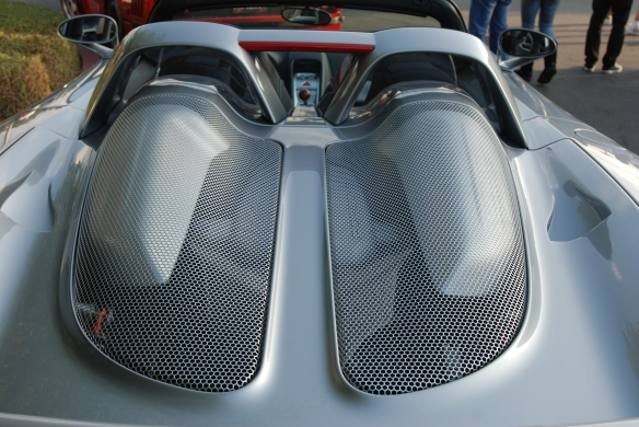 GT Silver Porsche Carrera GT_rear deckled mesh detail_cars&coffee_December 21, 2013