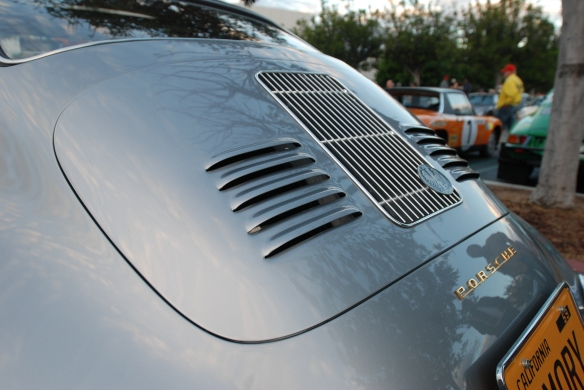 Silver Porsche 356 A outlaw coupe_rear deckled, louvers & reflections_cars&coffee_November 30, 2013