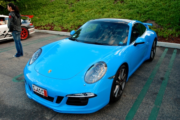 2014 Riviera Blue Porsche 991 with Aerokit Cup option_3/4 front view_cars&coffee/irvine_November 30, 2013
