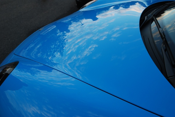 2014 Riviera Blue Porsche 991 with Aerokit Cup option_ front hood with cloud reflections_cars&coffee/irvine_November 30, 2013