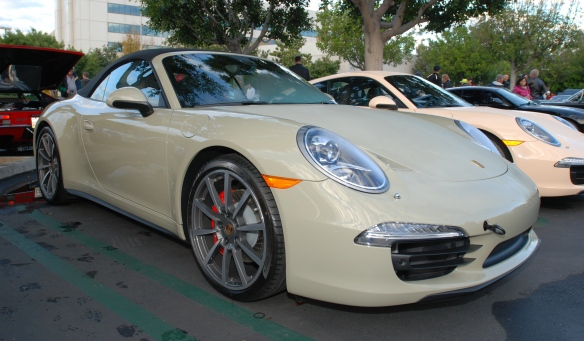 2014 Stone gray Porsche 991 Carrera 4S_ 3/4 front view_cars&coffee/irvine_November 30, 2013