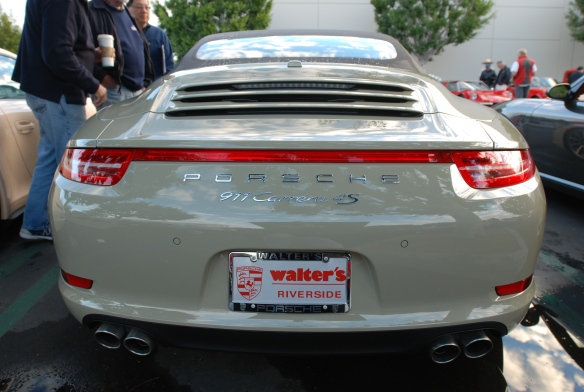 2014 Stone gray Porsche 991 Carrera 4S_ rear view with reflections view_cars&coffee/irvine_November 30, 2013