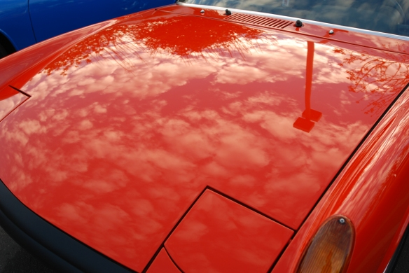 tangerine colored Porsche 914-6_ front hood reflections_cars&coffee/irvine_November 30, 2013