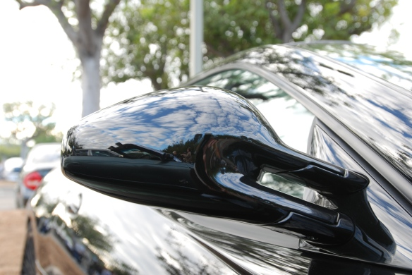 Black Ferrari 599 coupe_side mirror reflections_cars&coffee/irvine_November 30, 2013