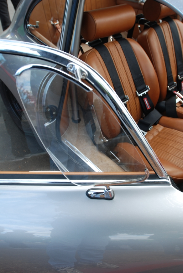 Silver Porsche 356 A outlaw coupe_saddle leather interior and door reflections_cars&coffee_November 30, 2013