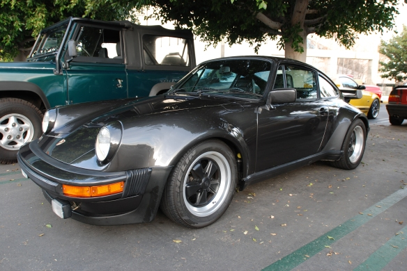 Charcoal Gray Porsche 930 Turbo_overflow lot_3/4 front view_Cars&Coffee/Irvine_January 4, 2014