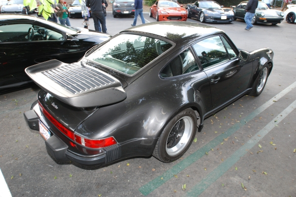Charcoal Gray Porsche 930 Turbo_overflow lot_3/4 rear view_Cars&Coffee/Irvine_January 4, 2014