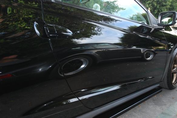 Charcoal Gray Porsche 930 Turbo_reflection in black Honda door_Cars&Coffee/Irvine_January 4, 2014