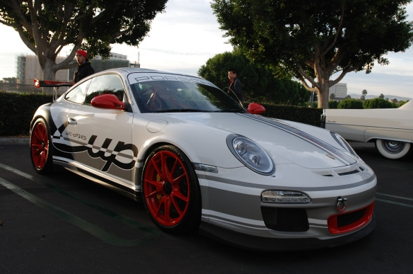 White Porsche 997 GT3 with graphics wrap_3/4 front view_overflow lot_Cars&Coffee/Irvine_January 4, 2014