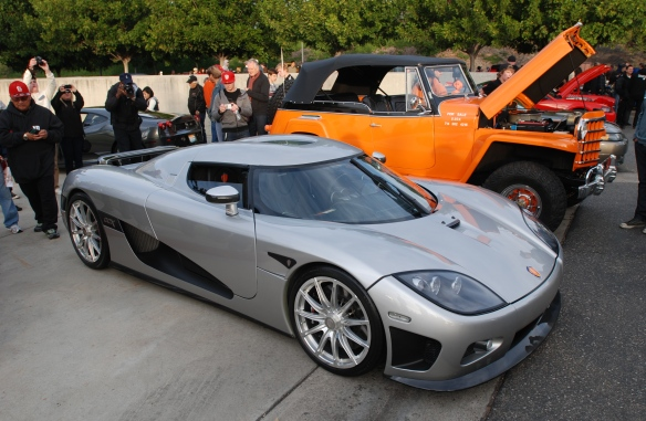 Silver Koenigsegg CCX coupe_3/4 front view_Cars&Coffee/Irvine_January 4, 2014