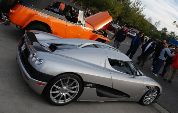 Silver Koenigsegg CCX coupe_3/4 rear view_Cars&Coffee/Irvine_January 4, 2014