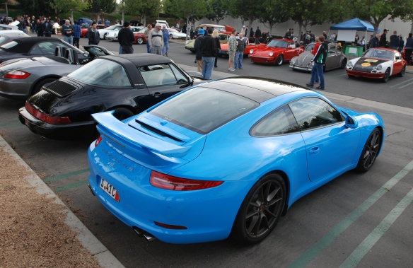 Black 1994 Porsche 964 targa and 2014 991 Riviera Blue 911 coupe_3/4 rear view_Cars&Coffee/Irvine_January 4, 2014