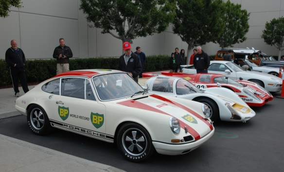 1967 Porsche 911R #001, 1966 906, 1970 917 recreation and 928_group photo_cars&coffee/irvine_january 25, 2014