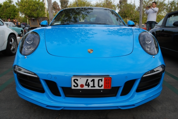 2014 991 Riviera Blue 911 coupe_front view_Cars&Coffee/Irvine_January 4, 2014