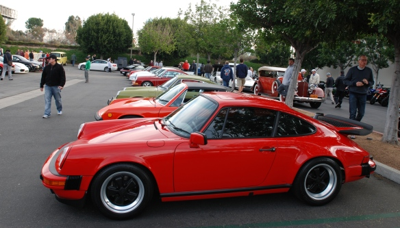 Guards Red 1987 Porsche 911 Carrera and friends_Porsche row_side view_Cars&Coffee/Irvine_January 4, 2014