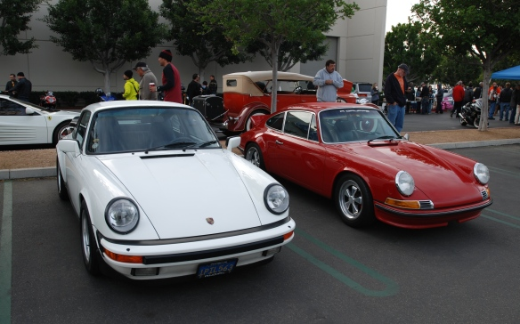 Red Porsche 911S & White 911Carrera on Porsche row_3/4 front view_Cars&Coffee/Irvine_January 4, 2014