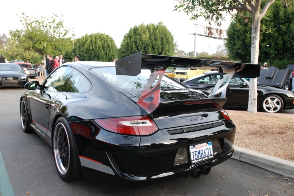 Black Porsche 997 GT3 with cup wing on Porsche row_3/4 rear view_Cars&Coffee/Irvine_January 4, 2014