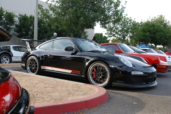 Black Porsche 997 GT3 with cup wing on Porsche row_3/4 side view_Cars&Coffee/Irvine_January 4, 2014