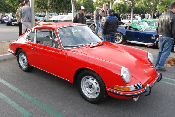 Signal Red 1966 Porsche 911 on Porsche row_3/4 side view_Cars&Coffee/Irvine_January 4, 2014
