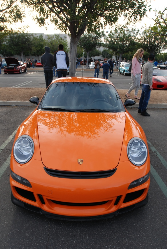 Orange 2007 Porsche 911 GT3RS_front view_ Cars&Coffee/Irvine_January 4, 2014